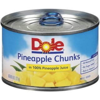 Dole Canned Fruit Chunks In 100% Pineapple Juice Pineapple (227 g)