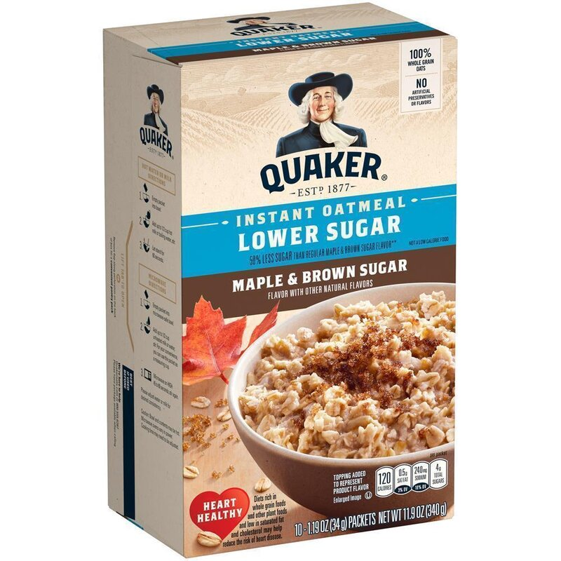 Quaker Instant Oatmeal - Lower Sugar - Maple Brown Sugar - 340g
