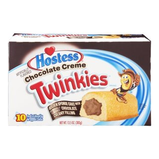 Hostess Chocolate Twinkies 10x Golden Sponge Cake with a Creamy Chocolate filling (385g)