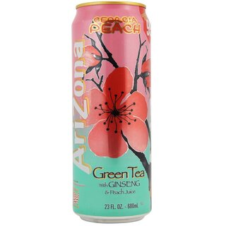Arizona Georgia Peach Green Tea With Ginseng & Peach Juice (24x 680ml)